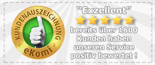 Ausgezeichnete Bewertungen durch zufriedene Kunden !