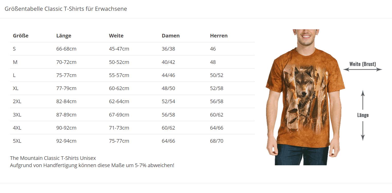Größentabellen für Erwachsene und Kinder T-Shirts | tshirts-24.de