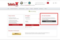 Sofern Du kein Kundenkonto erstellen möchtest wähle den Punkt -Als Gast bestellen- aus