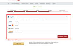 Wähle die gewünschte Zahlungsweise aus und klicke auf den Button mit Bestellung fortfahren