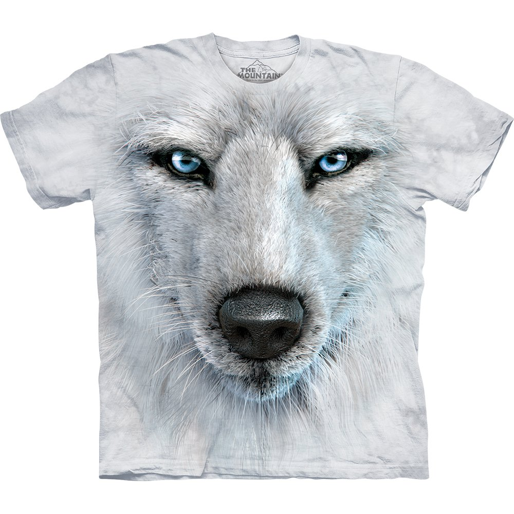 wolf t shirt white wolf face 29 99 the mountain shirts. Black Bedroom Furniture Sets. Home Design Ideas